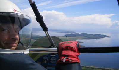 Approaching the airstrip on the Isle of Bute